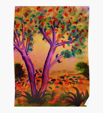 The Beginning of Fall, watercolor Poster