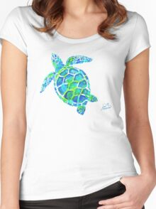 Sea Turtle no splots by Jan Marvin Women's Fitted Scoop T-Shirt