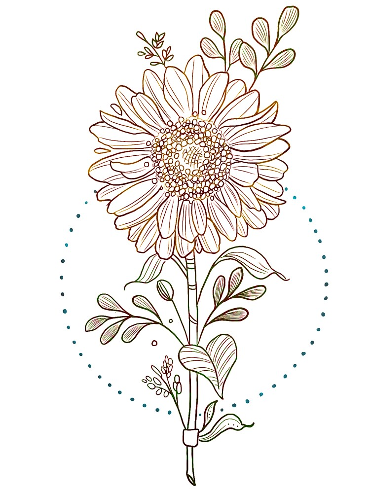Colorful Sunflower Outline Baby T Shirt By Treysart Redbubble Sunflower tattoo google search more tattoo ideas sunflower tattoos. redbubble
