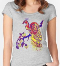 Peacock in a Peach Tree (Remix) Women's Fitted Scoop T-Shirt