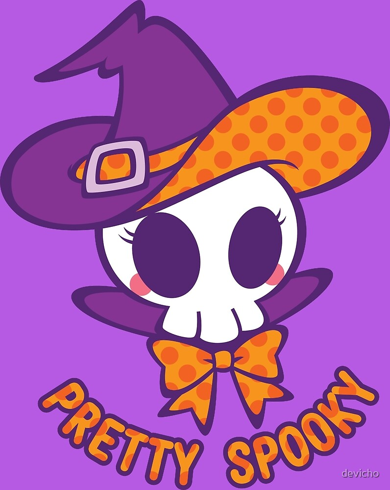 Cute Skull Witch - With Text by devicho
