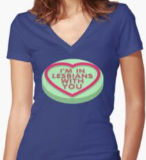 Candy Heart Pilgrim Women's Fitted V-Neck T-Shirt