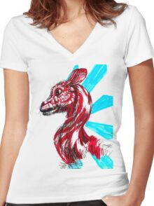 Peppermint Mammal Women's Fitted V-Neck T-Shirt