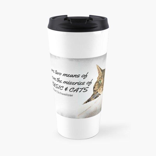 Music and Cats - Albert Schweitzer Quote tabby cat with green eyes digital art Travel Mug