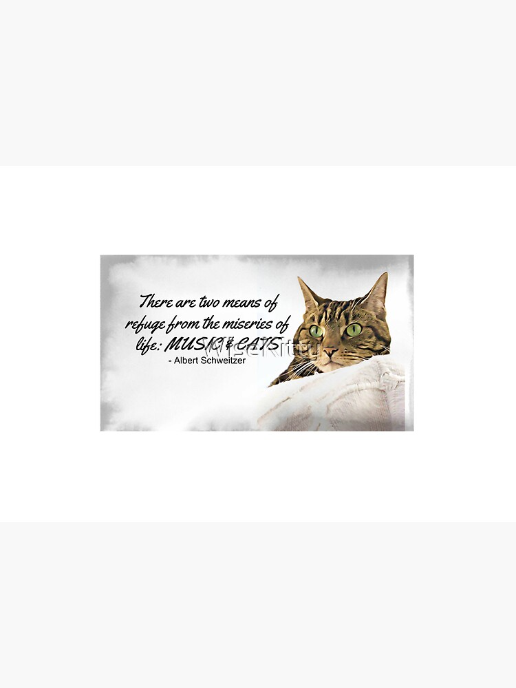 Music and Cats - Albert Schweitzer Quote tabby cat with green eyes digital art by WiseKitty