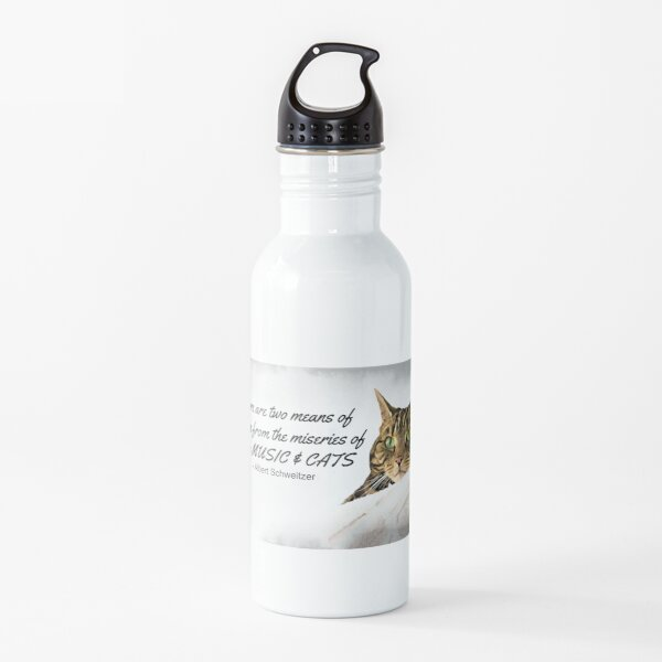 Music and Cats - Albert Schweitzer Quote tabby cat with green eyes digital art Water Bottle