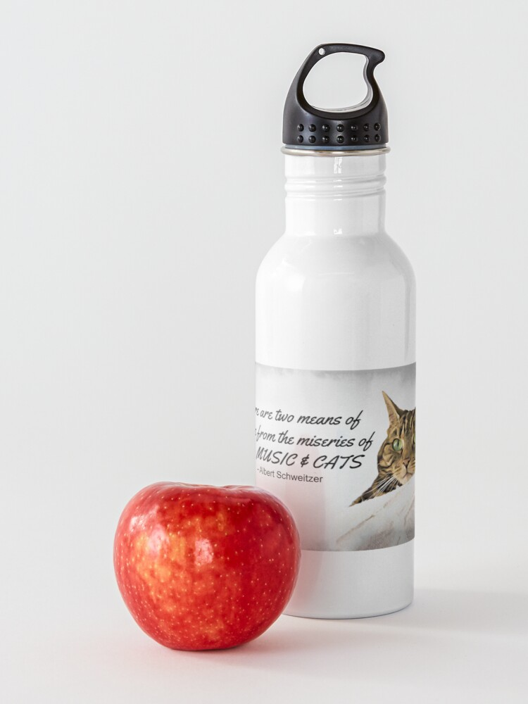 Alternate view of Music and Cats - Albert Schweitzer Quote tabby cat with green eyes digital art Water Bottle