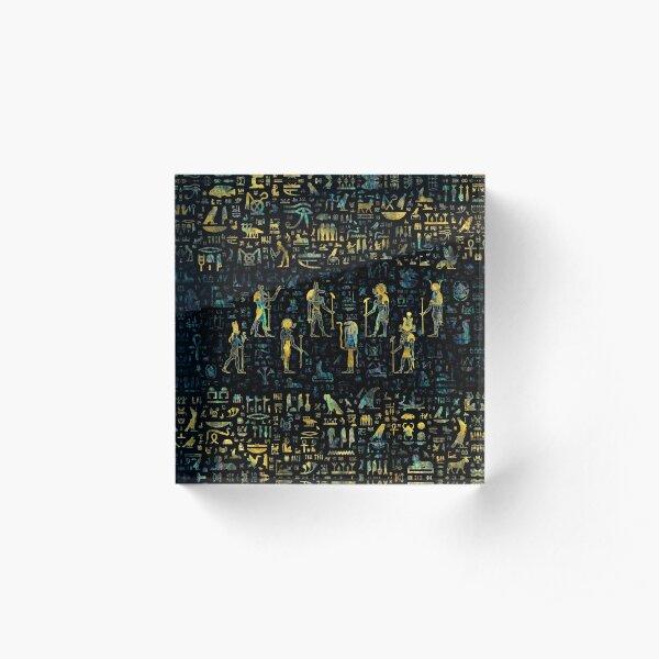 Egyptian Gods and hieroglyphs - Abalone and Gold Acrylic Block