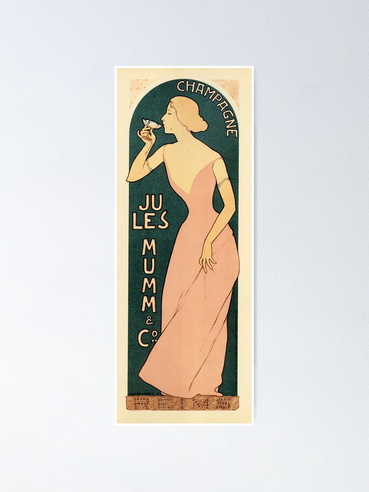 Alternate view of CHAMPAGNE JULES MUMM by Maurice Realier-Dumas c1895 Vintage France Wine Advertisement Poster