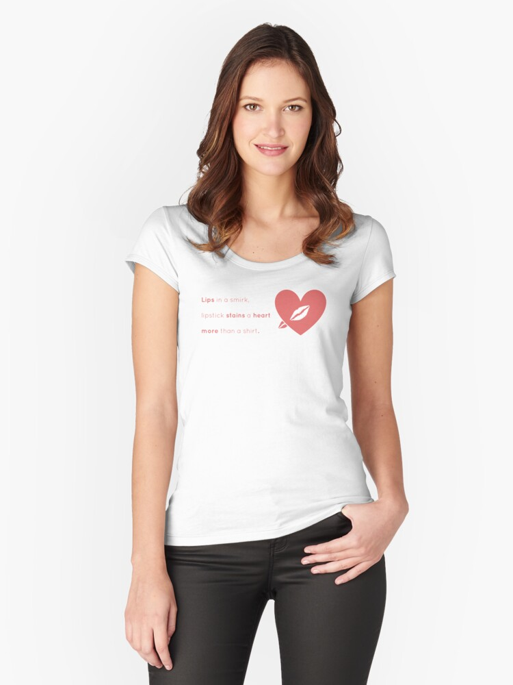 Lipstick Heart Women's Fitted Scoop T-Shirt Front