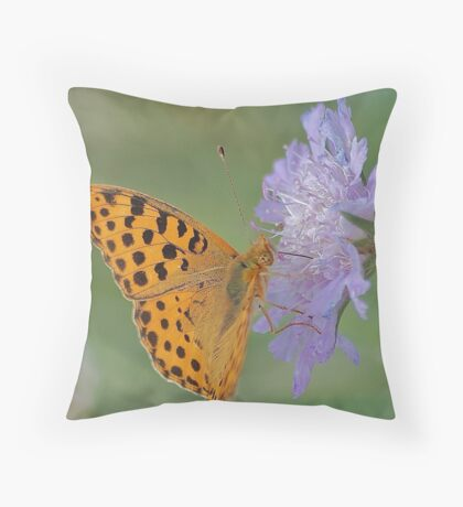 Butterfly on right position (High Brown Fritillary butterfly) Throw Pillow