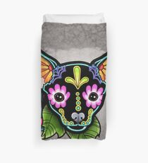 Day of the Dead Chihuahua in Black Sugar Skull Dog Duvet Cover