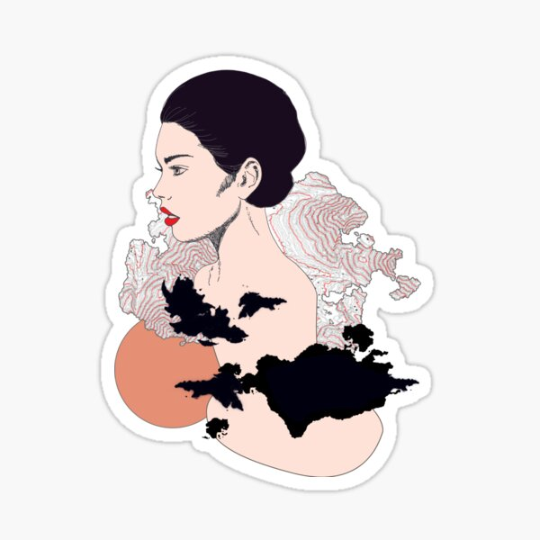 profile of graphic and contemporary woman Sticker