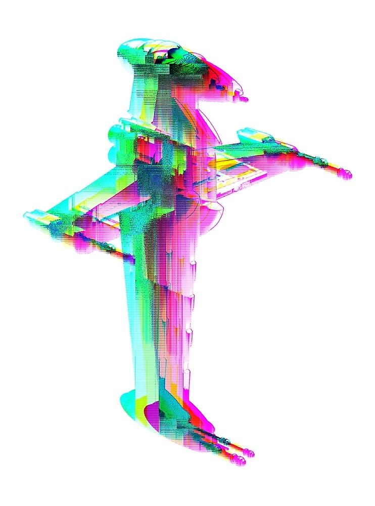 B-Wing Glitch Art by JpegArtifact