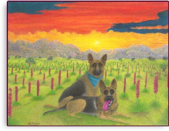 German Shepherds At Sunset by Michael McKellip