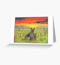 German Shepherds At Sunset Greeting Card
