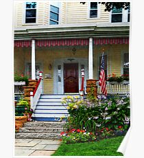 Porch With Front Yard Garden Poster