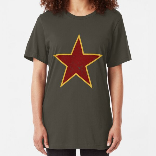 Vintage look Red and Gold Star Slim Fit T-Shirt