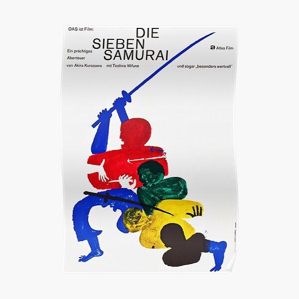Seven Samurai - Vintage 1962 German Film Poster Poster