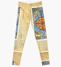 Wheel Of Fortune Blue Tarot Post Card Leggings