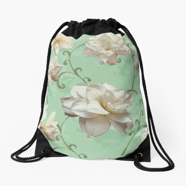 White Amaryllis on green Drawstring Bag