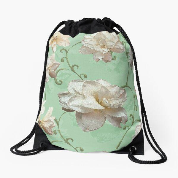 White Amaryllis on green Drawstring Bag