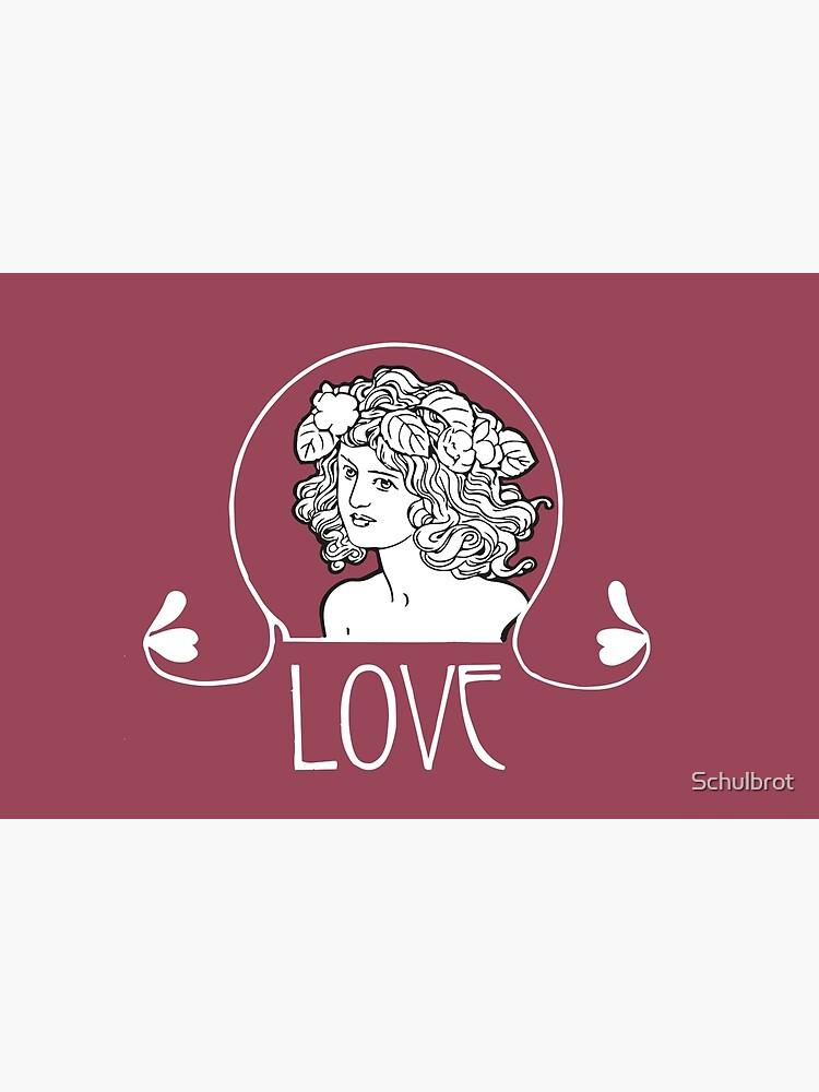 Love, Art Nouveau, Art Nouveau, girl's head with flowing hair by Schulbrot