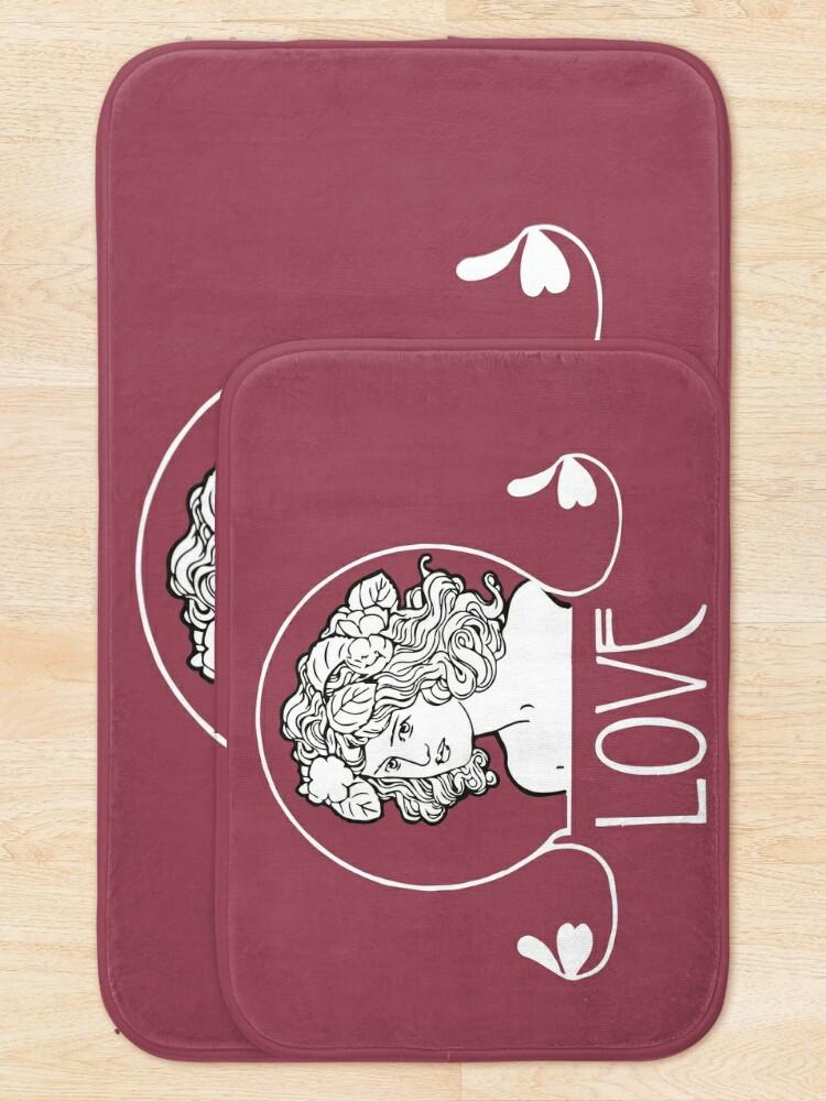 Alternate view of Love, Art Nouveau, Art Nouveau, girl's head with flowing hair Bath Mat