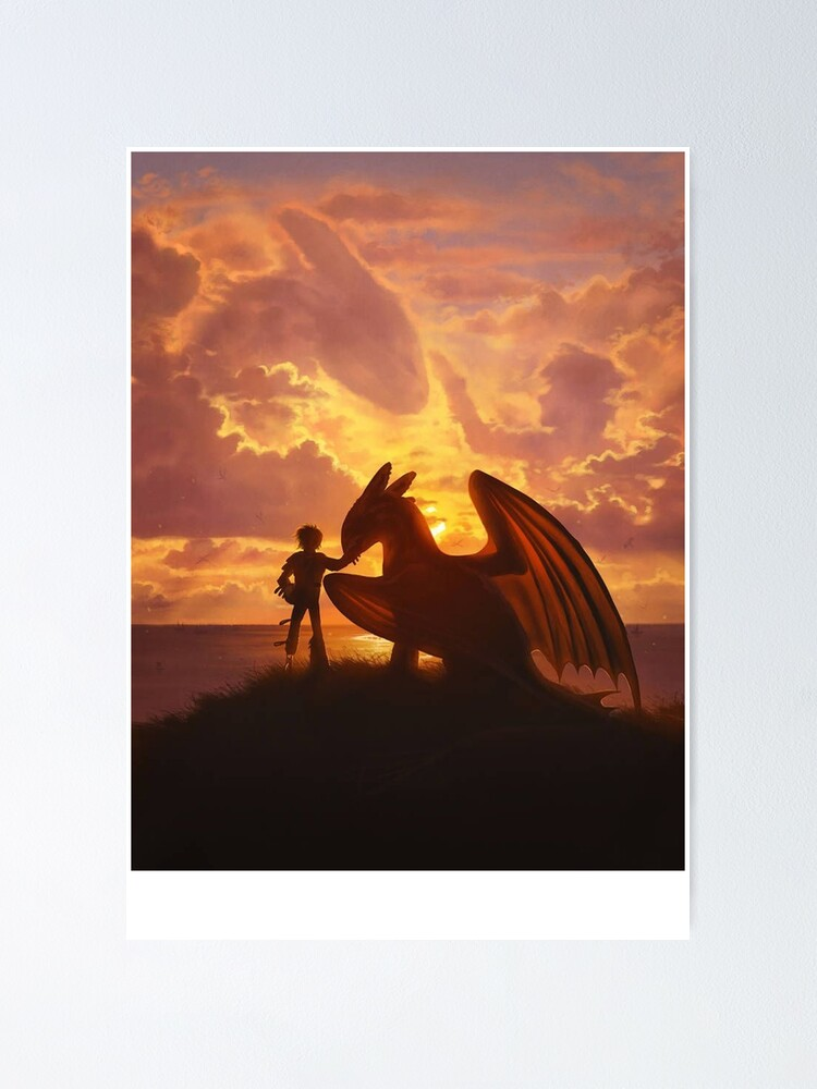 Alternate view of sunset dragons Poster