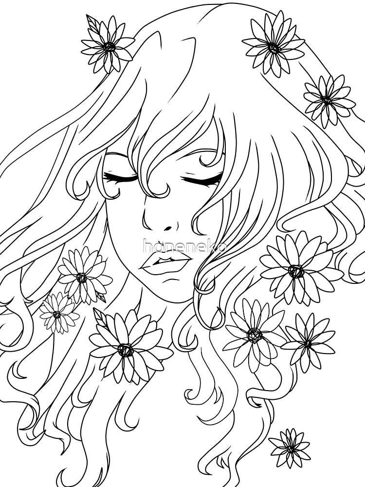 Lady & flowers by honeneko