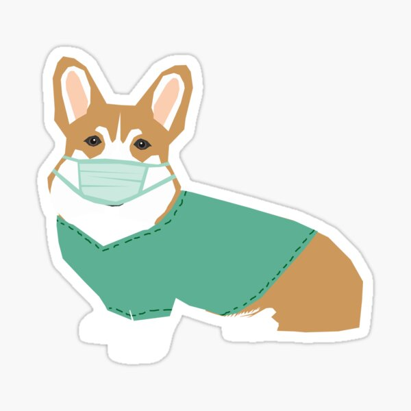 Corgi in Scrubs sticker - corgi nurse, corgi doctor, corgi scrubs, medical corgi, nurse sticker, dog sticker, corgi stickers, cute corgi, dog sticker  Sticker