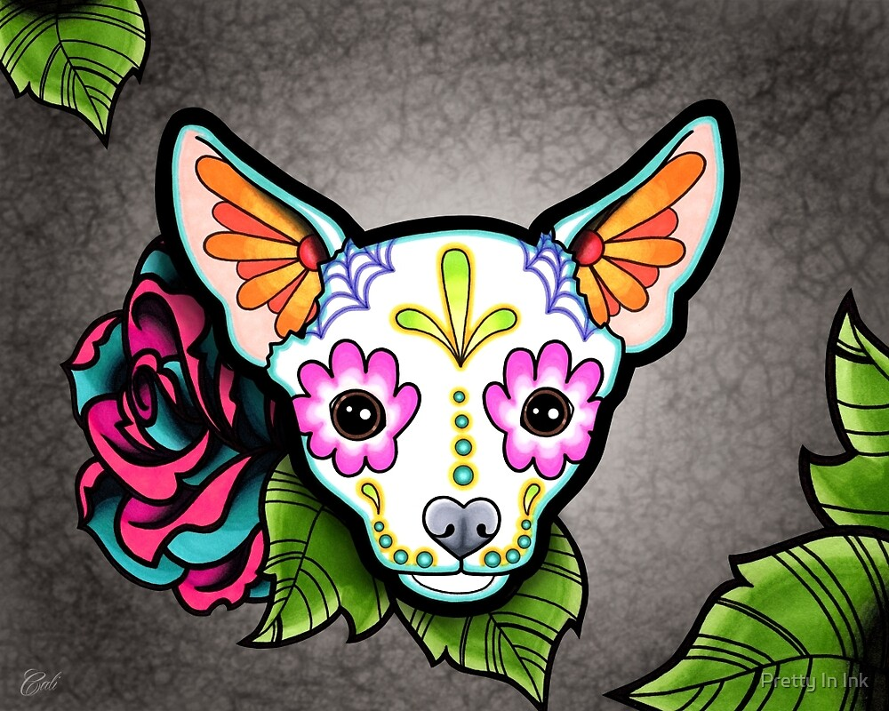 Day of the Dead Chihuahua in White Sugar Skull Dog by prettyinink