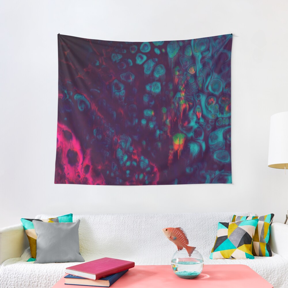 Synthwave- Glitchy Abstract Pixel Art Tapestry