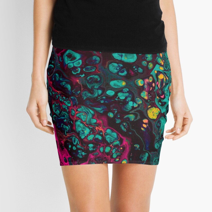 Crunchberries - Teal & Pink Abstract Mini Skirt
