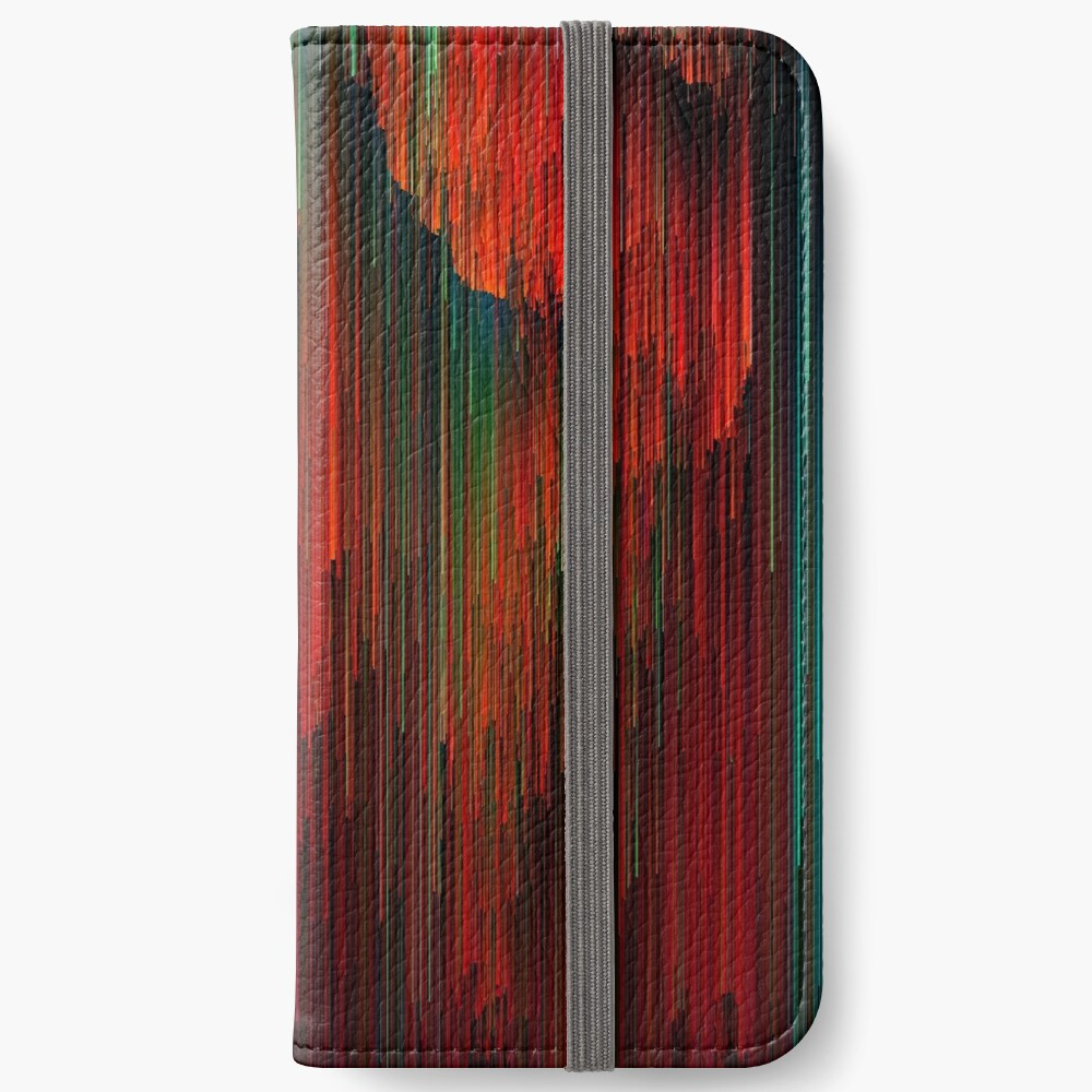 Volcanic Glitches - Abstract Pixel Art iPhone Wallet