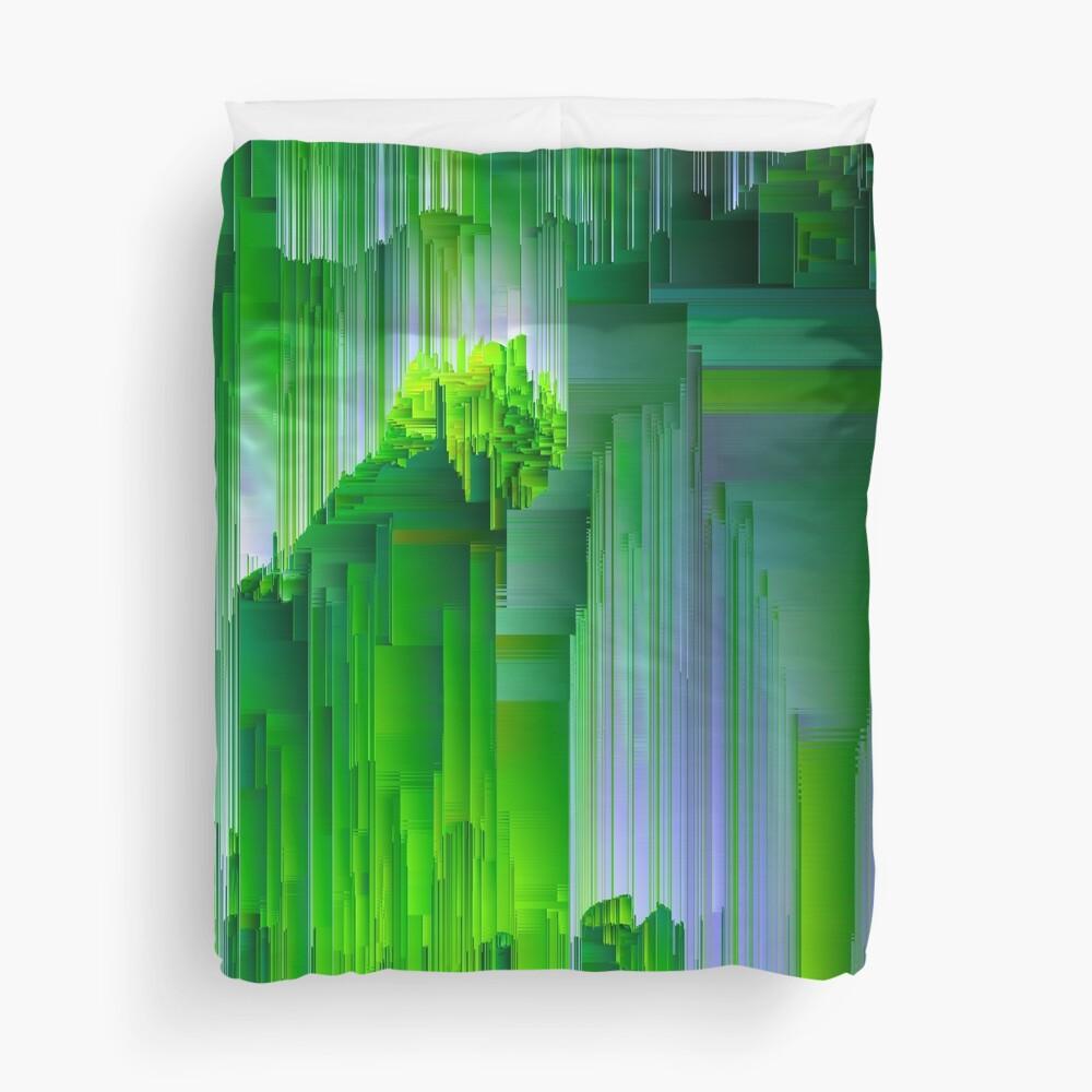 Nature Glitchin' - Abstract Pixel Art Duvet Cover