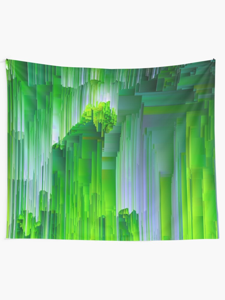 Alternate view of Nature Glitchin' - Abstract Pixel Art Tapestry