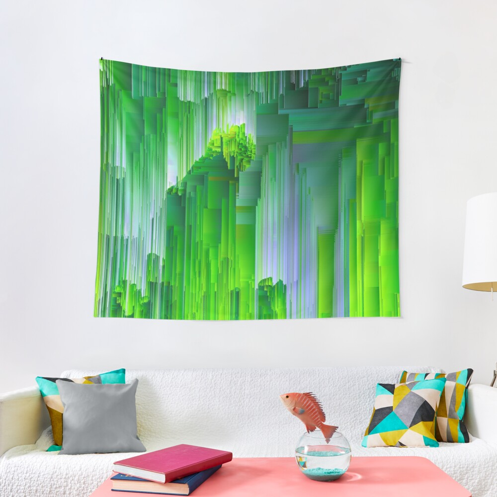 Nature Glitchin' - Abstract Pixel Art Tapestry