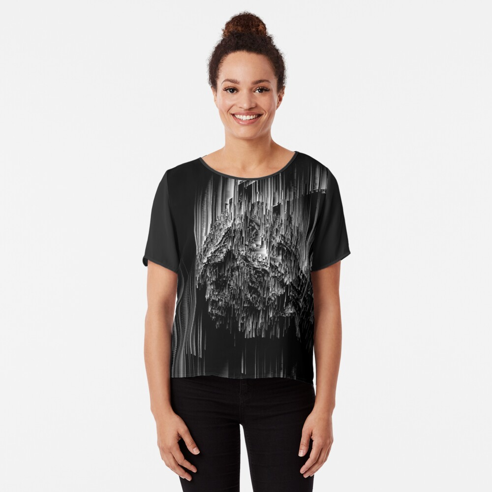 Night of the Glitches - Abstract Pixel Art Chiffon Top