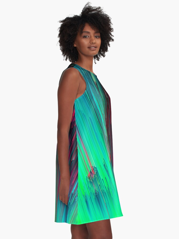 Alternate view of Just Chillin' - Abstract Neon Glitch Pixel Art A-Line Dress