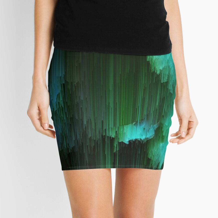 Aurora Borealis - Abstract Glitchy Pixel Art Mini Skirt