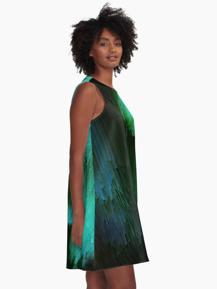 Alternate view of Aurora Borealis - Abstract Glitchy Pixel Art A-Line Dress