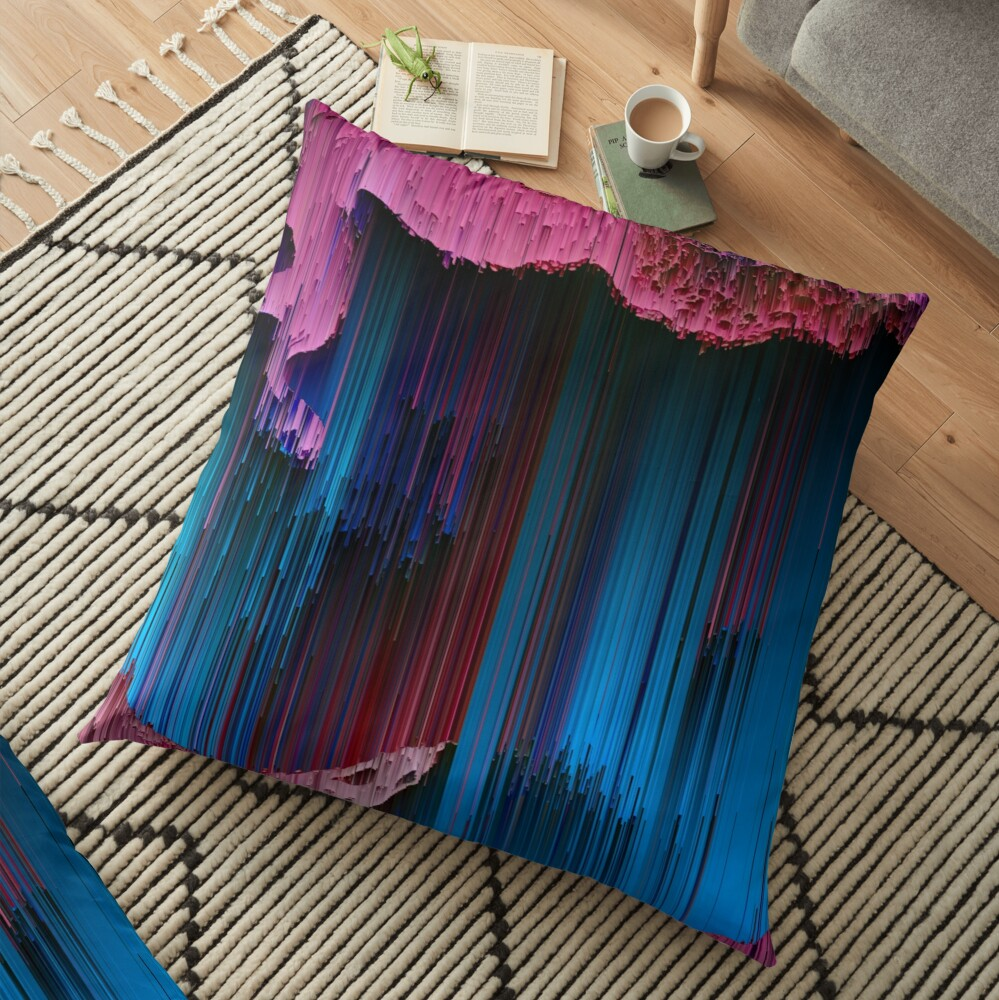 Cotton Candy - Abstract Glitchy Pixel Art Floor Pillow