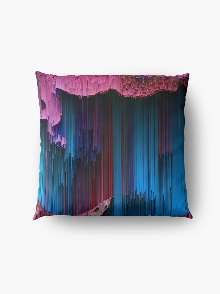Alternate view of Cotton Candy - Abstract Glitchy Pixel Art Floor Pillow
