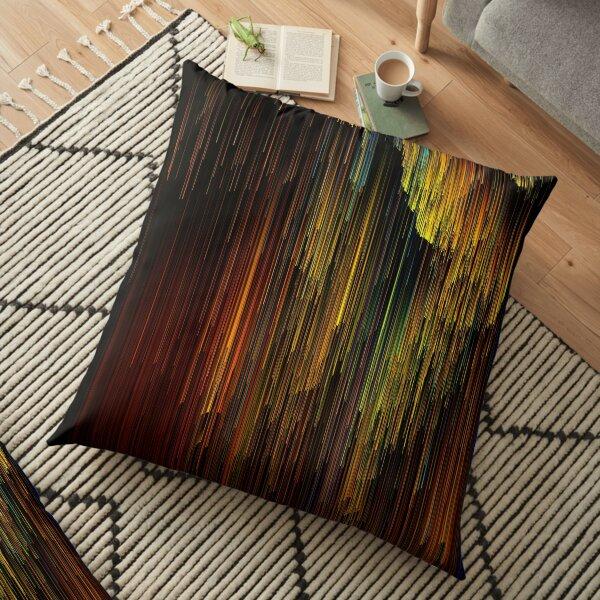 Spectrum Rain - Glitchy Abstract Pixel Art Floor Pillow
