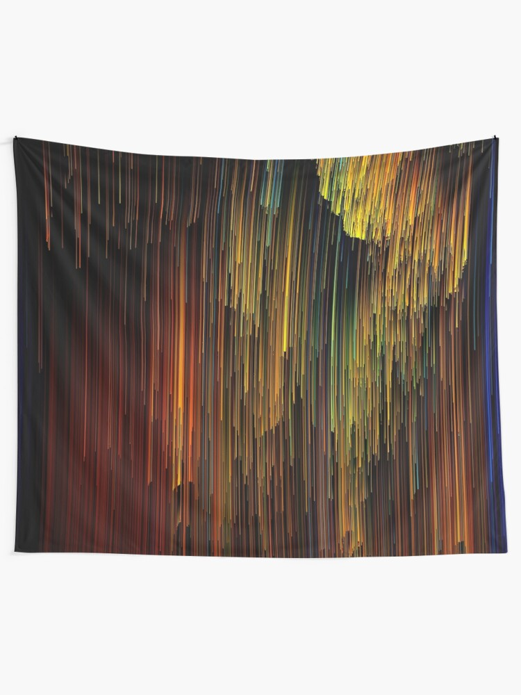 Alternate view of Spectrum Rain - Glitchy Abstract Pixel Art Tapestry
