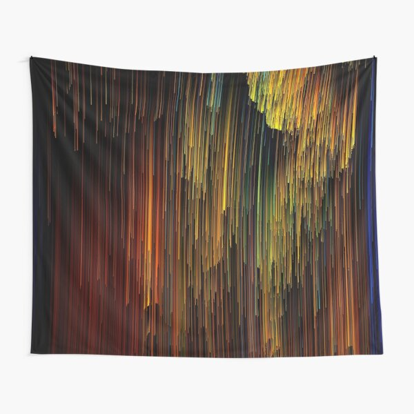 Spectrum Rain - Glitchy Abstract Pixel Art Tapestry