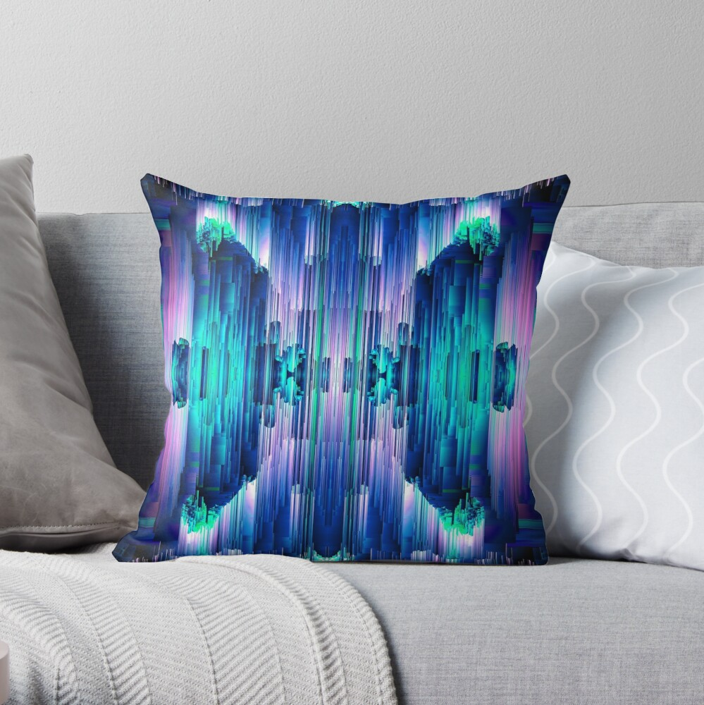 Cavernous Glitch - Abstract Pixel Art Throw Pillow