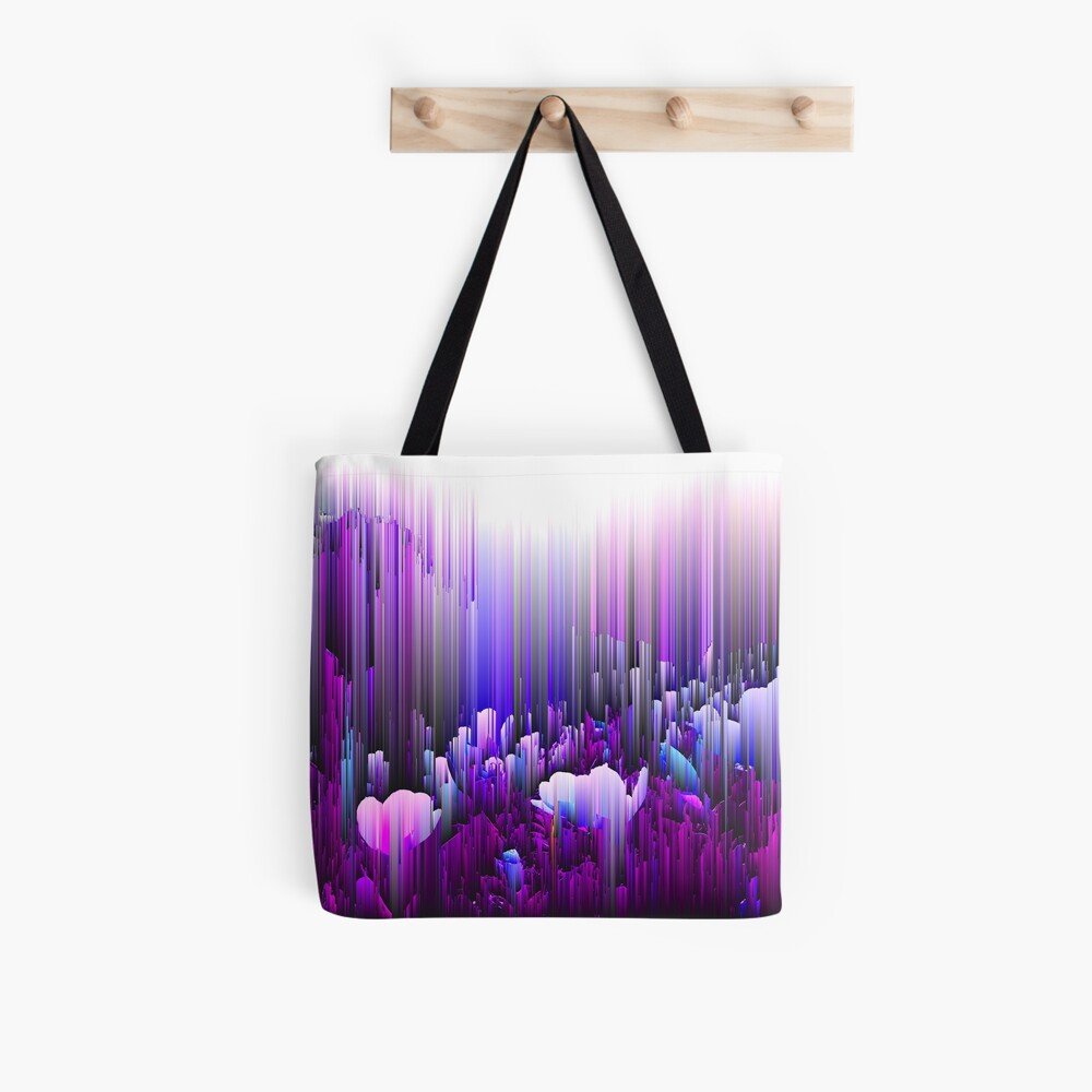 Rain of Lavender - Glitch Abstract Pixel Art Tote Bag