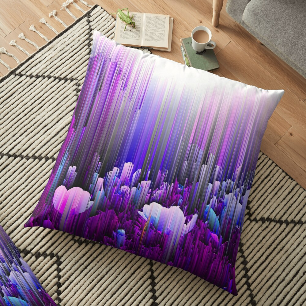 Rain of Lavender - Glitch Abstract Pixel Art Floor Pillow